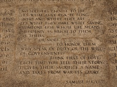 Poem written for the Memorial by State Poet, Samuel Hazo