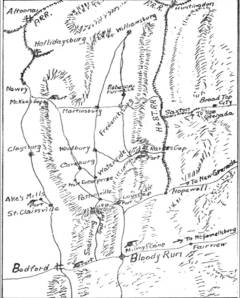 Morrison's Cove, based on Higgins's own sketched map - Minute Men of Pennsylvania