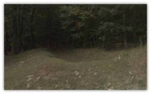 remnants of trenches at Snakespring Gap - Google Street View